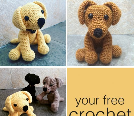 Free pattern to make your very own crochet Labrador puppy