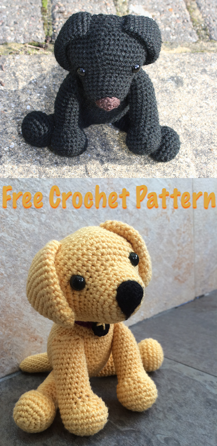 Free Crochet Lab Puppy Pattern. How to crochet your own toy Lab puppy, with simple instructions. By Lucy Kate Crochet.