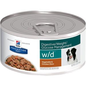 ... Stew Canned Dog Food 24/5.5 oz by Hills Pet Nutrition This diabetic dog food canned recipe stabilizes your dog's blood sugar and improves the metabolism ...